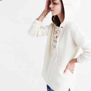 Sweaters - Madewell Cozy white lace up hoodie